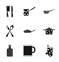 Tableware icons set simple style vector