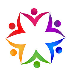 teamwork flower unity people hands icon vector image