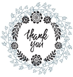 Thank you card with hand drawn floral wreath vector image