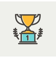 Trophy for first place winner thin line icon vector image