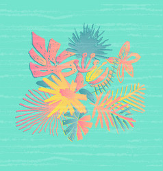 Tropical flower composition glitch effect vector