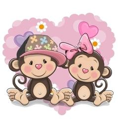 Two Cute Monkeys vector