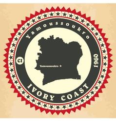 Vintage label-sticker cards ivory coast vector