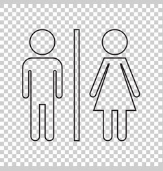 wc toilet line icon men and women sign for vector image