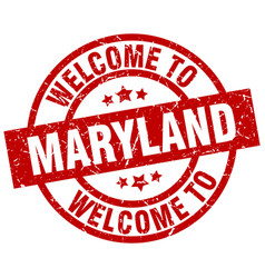 Welcome to maryland red stamp vector