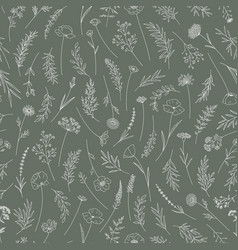 wildflowers seamless pattern in thin line vector image
