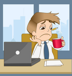 boring businessman drink coffee in office vector image