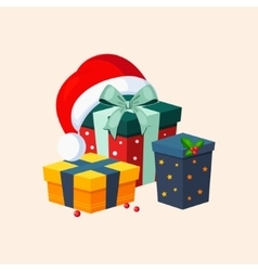 Christmas Presents and Hat vector image vector image