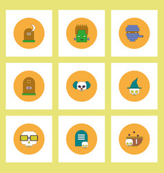 Collection of icons in flat style halloween stuff vector