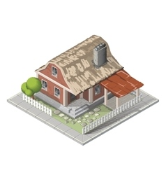 Farm isometric building farmhouse vector image