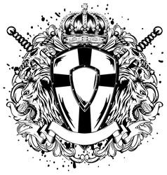 lions swords board corona vector image vector image