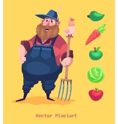 Pixel funny farmer character Isolated on yellow vector image vector image