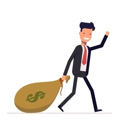Businessman or manager comes with a bag of money vector image vector image