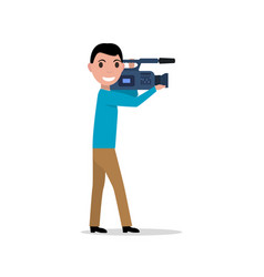 cartoon professional videographer vector image vector image