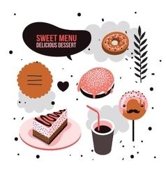 Delicious dessert design elements set Donut Cake vector image vector image