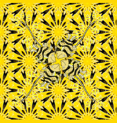 flowers on yellow black and white colors gentle vector image