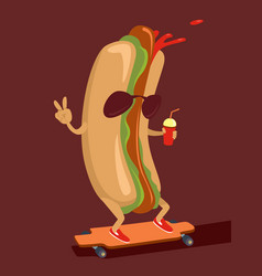 hot dog character vector image vector image