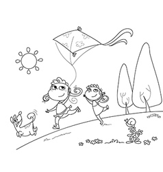 Kids and dog playing with kites vector image