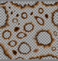set of burnt piece of paper eps 10 vector image
