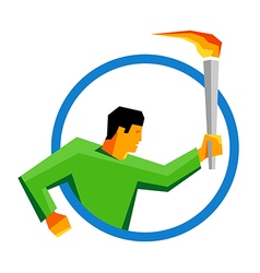 Summer sport games athlete torch bearer in a ring vector