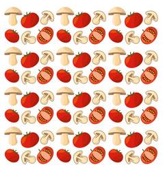 tomato mushroom vegetables fresh seamless pattern vector image