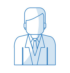 Blue silhouette shading half body faceless man vector