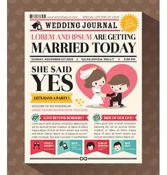 Cartoon newspaper journal wedding invitation vector