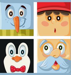 christmas cartoon characters set vector image vector image