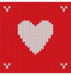 Christmas Knitted background with heart vector image