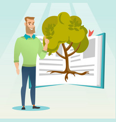 student pointing at tree of knowledge vector image vector image