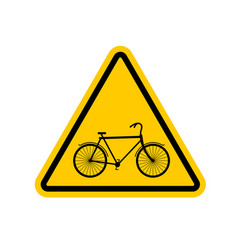 attention cyclist bicycle on yellow triangle road vector image