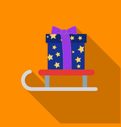 christmas gift on a sledge icon in flat style vector image vector image