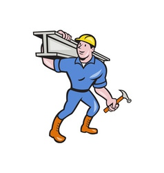 Construction Steel Worker Carry I-Beam Cartoon vector image vector image