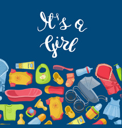 it is girl with lettering and vector image vector image