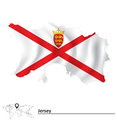 Map of Jersey with flag vector image