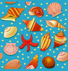seamless background with shells and starfish vector image