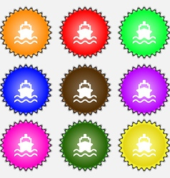 ship icon sign A set of nine different colored vector image