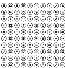 100 folder icons set simple style vector