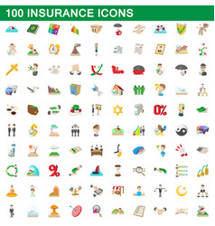 100 insurance icons set cartoon style vector