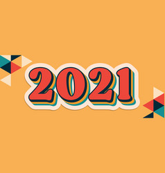 2021 new year retro graphic design banner happy vector image