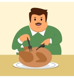 a businessman a man full dinner eat chicken vector image