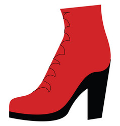 a fashionable red and black high ankle stylish vector image