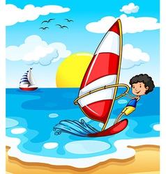 A teenager enjoying the beach vector