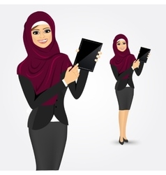 Arabic woman showing tablet screen vector