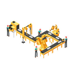 automated production line factory conveyor with vector image