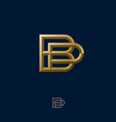 B and p combined golden letters monogram vector