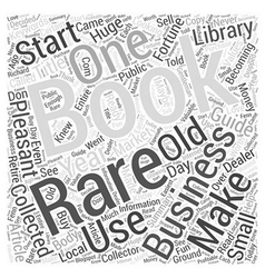 Becoming a Rare Book Dealer Word Cloud Concept vector