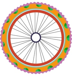 Bike wheel silhouette with tyre and spokes vector