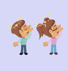 Boy and girl with fainting symptom vector
