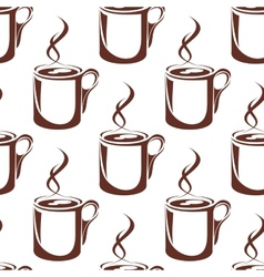 Brown hot coffee cups seamless pattern vector